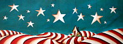 Red White Blue Paintings - Star Spangled by Cindy Thornton