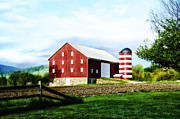 Star Barn Posters - Star Spangled Farm Poster by Bill Cannon