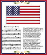 Star Spangled Banner Digital Art - Star Splangled Banner Music  Lyrics and Flag by Anne Norskog