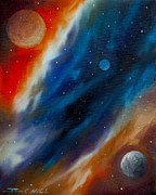 Dark Energy Painting Originals - Star System 2034 by James Christopher Hill