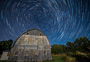 Star Trails Over Barn Print by Paul Freidlund