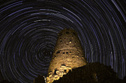 Startrails Photo Acrylic Prints - Star Trails over the Watchtower Acrylic Print by Jason Hatfield