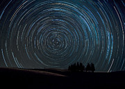 Polaris Prints - Star trails over Tuscany Italy Print by Matteo Colombo