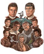 Star Drawings Framed Prints - Star Trek 25th Anniversary Framed Print by Jonathan Brown