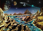 Science Fiction Art Originals - Star Trek - Orbiting Planet by Michael Rucker