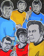 Captain Kirk Painting Posters - Star Trek Original Series Poster by Gary Niles