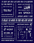 Tv Show Prints - Star Trek Remembered in Navy Blue Print by Nomad Art And  Design