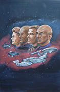 Kirk Painting Framed Prints - Star Trek tribute Captains Framed Print by Bryan Bustard