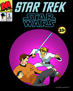 William Shatner Prints - Star Trek vs Star Wars Print by Mista Perez Cartoon Art