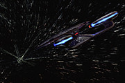 Enterprise Metal Prints - Star Trek - Wormhole Effect - USS Enterprise D Metal Print by Jason Politte