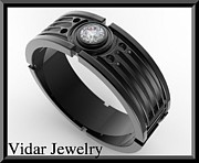 Black Ring Jewelry Originals - Star Wars 14k Black Gold Diamond Mens Wedding Ring by Roi Avidar
