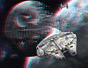 Millennium Falcon Framed Prints - Star Wars 3D Millennium Falcon Framed Print by Paul Van Scott