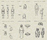 Technical Art Drawings Prints - Star Wars Characters Patent Collection Print by PatentsAsArt