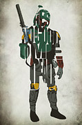 Drawing Prints - Star Wars Inspired Boba Fett Typography Artwork Print by Ayse T Werner