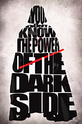 Typographic  Digital Art Posters - Star Wars Inspired Darth Vader Artwork Poster by Ayse T Werner