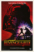 George Lucas Framed Prints - Star Wars Revenge of the Jedi Poster Framed Print by Sanely Great