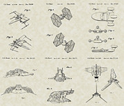 Technical Art Drawings Prints - Star Wars Vehicles Patent Collection Print by PatentsAsArt