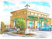Urban  Drawings Paintings - Starbucks Coffee in Barstow - CA by Carlos G Groppa