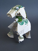 Paper Sculpture Sculpture Prints - Starbucks dog Print by Alfred Ng