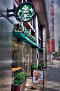 Italian Cafe Prints - Starbucks in Kyoto Japan Print by Spencer McDonald