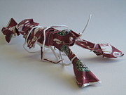 Paper Sculpture Posters - Starbucks Lobster Poster by Alfred Ng