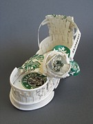 Paper Sculpture Art Sculpture Framed Prints - Starbucks sandal Framed Print by Alfred Ng
