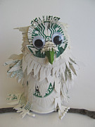 Recycled Art Sculptures - Starbucks Snowy Owl by Alfred Ng
