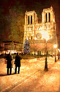 Street Lamps Digital Art Posters - Stardust Over Notre Dame de Paris Cathedral Poster by Mark E Tisdale