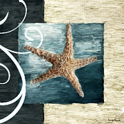 Seashell Art Metal Prints - Starfish Spell Metal Print by Lourry Legarde