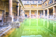 Roman Baths Framed Prints - Staring Into Antiquity At The Roman Baths - Bath England Framed Print by Mark E Tisdale