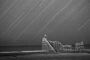 Jerseyshore Photo Originals - Starjet Roller Coaster Startrails BW by Michael Ver Sprill