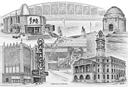 Hall Drawings Posters - Stark County Ohio Print - Canton Lives Poster by Kelli Swan