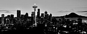 Seattle Skyline Framed Prints - Stark Seattle Skyline Framed Print by Benjamin Yeager