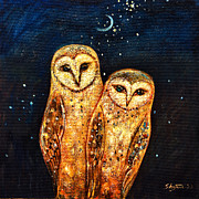 Snowy Night Painting Framed Prints - Starlight Owls Framed Print by Shijun Munns