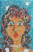 Mosaic Glass Art Posters - Starry Eyed Poster by Caroline Street