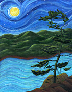 Catherine White Painting Metal Prints - Starry Night at Algonquin Park Metal Print by Catherine Howard