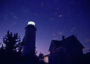 Moonlit Night Photos - Starry Night at Sandy Neck Lighthouse by Charles Harden