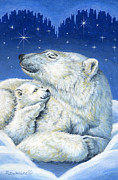 Winter Night Painting Metal Prints - Starry Night Bears Metal Print by Richard De Wolfe