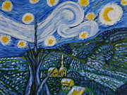 Church Prints Paintings - Starry Night by Beverly Livingstone