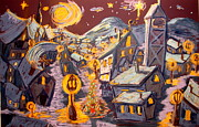 Night Scene Pastel Posters - Starry Night Christmas Poster by Joseph Hawkins