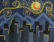 Denver Painting Acrylic Prints - Starry Night Cityscape Acrylic Print by Angelina Vick