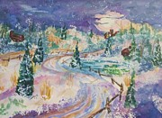 Split Rail Fence Posters - Starry Night in a Winter Wonderland Poster by Ellen Levinson