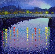 Impressionism Acrylic Prints Paintings - Starry Night In Dublin Half Penny Bridge by John  Nolan