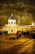 Street Lamps Digital Art Prints - Starry Night Over the Institut de France Print by Mark Tisdale