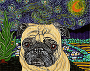 Star Pug Framed Prints - Starry Night Pug Framed Print by Karen Howell