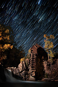 Startrail Photos - Starry Night Star Trails At The Crystal River Mill by Mike Berenson