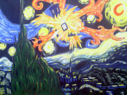 Dr Who Paintings - Starry Night Under a Exploding Tardis by Skylar Webb