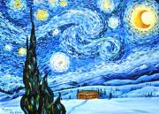 Log Cabin Art Paintings - Starry Night by Virginia Ann Hemingson