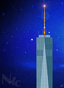 Blue Glass World Posters - Starry Nights - WTC One Poster by Nishanth Gopinathan