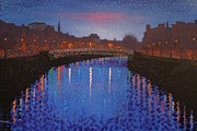 River Greeting Cards Posters - Starry Nights In Dublin Ha Penny Bridge Poster by John  Nolan